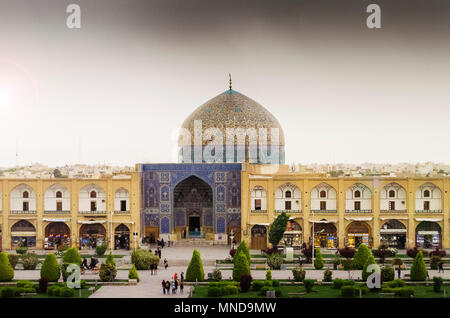 Imam Square in Isfahan, Iran. It is known as Naqsh-e Jahan Square and has led to its designation as a UNESCO World Heritage Site in 1979. - Stock Photo