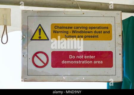 warning sign at Hampshire Game & Country Fair, Netley Marsh, Hampshire UK in May - Stock Photo