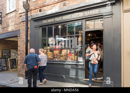 The Shop That Must Not Be Named store shop in Shambles York North Yorkshire England UK United Kingdom GB Great Britain - Stock Photo