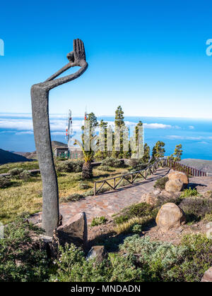 Mirador de Igualero with Homage to Silbo sculpture in honour of the island's whistling language - Garajonay National Park of La Gomera Canary Islands - Stock Photo