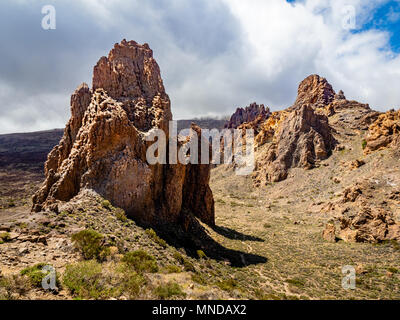 Rock formation known as La Catedral an exposed volcanic plug at the Roques de Garcia in the caldera of Mount Teide Tenerife Canary Islands - Stock Photo