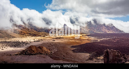 The Plane of Ucanca and mountains of the crater rim on Mount Teide or Pico del Teide an active volcano on Tenerife Canary Islands - Stock Photo