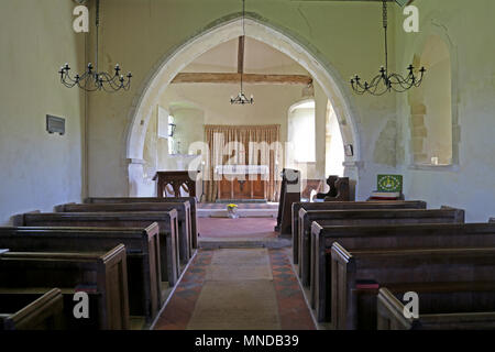 Interior of St Mary the Virgin church Upwaltham, West Sussex, UK - Stock Photo