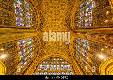 The ornate ceiling of Sherborne Abbey taken in Sherborne, Dorset, UK on 24 August 2015 - Stock Photo