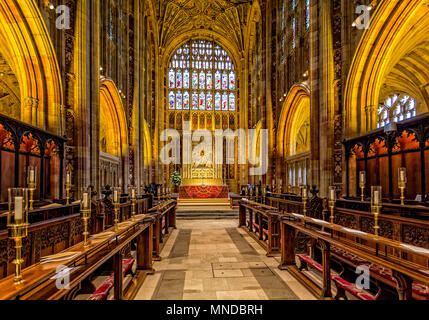 The choir stalls and altar in Sherborne Abbey taken in Sherborne, Dorset, UK on 24 August 2015 - Stock Photo