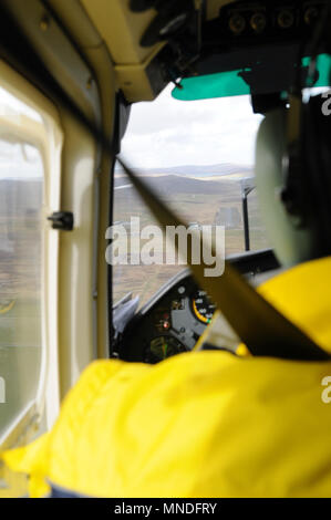 Inside Britten Norman BN-2B islander aircraft flying between Shetland mainland and Fair Isle - Stock Photo