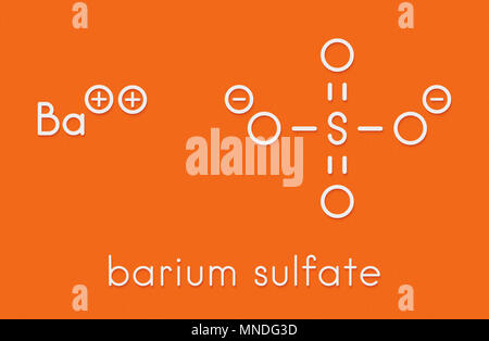 Barium sulfate (BaSO4). Used as paint pigment and radiocontrast agent. Skeletal formula. - Stock Photo