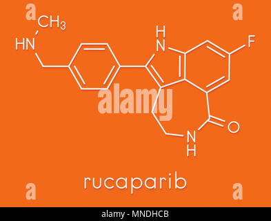 Rucaparib cancer drug molecule (PARP inhibitor). Skeletal formula. - Stock Photo