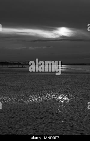 Monochrome view of Cloudy sunset over Saltburn Pier - Stock Photo