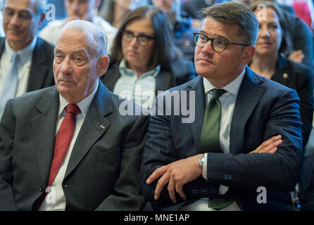 16 May 2018, Germany, Frankfurt: Hesse's Economy Minister Boris Rhein (R) of the Christian Democratic Union (CDU), sitting beside Gerhard Wiese in the Saalbau Gallus during a festive event. Wiese is the former prosecuting counsel in the Frankfurt Auschwitz trials. The documents of the 1st Frankfurt  Auschwitz trialis now a UNESCO World Heritage Document. Photo: Boris Roessler/dpa - Stock Photo