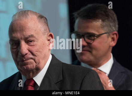 16 May 2018, Germany, Frankfurt: Hesse's Economy Minister Boris Rhein (R) of the Christian Democratic Union (CDU) and Gerhard Wiese leave the stage of the Saalbau Gallus together. Wiese is the former prosecuting counsel in the Frankfurt Auschwitz trials. The documents of the 1st Frankfurt Auschwitz trialis now a UNESCO World Heritage Document. Photo: Boris Roessler/dpa - Stock Photo