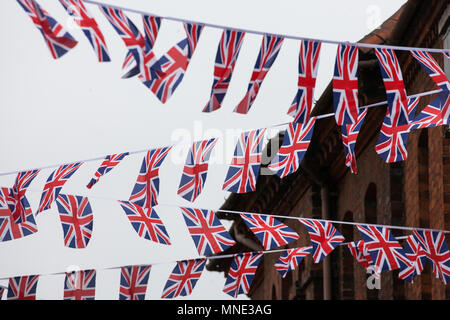 London, UK. 16th May, 2018. Bunting hangs around the town centre in preparation for Saturday's royal wedding between Prince Harry and Meghan Markle. Credit: Mark Kerrison/Alamy Live News - Stock Photo