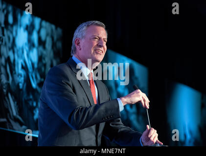 Mayor Bill de Blasio (Democrat of New York City) makes remarks at