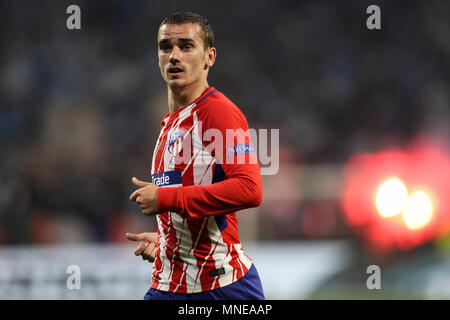 Antoine Griezmann of Atletico Madrid during the UEFA Europa League Final match between Marseille and Atletico Madrid at Parc Olympique Lyonnais on May 16th 2018 in Lyon, France. (Photo by Daniel Chesterton/phcimages.com) - Stock Photo