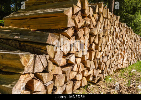 Wood pile - hiking on a beautiful spring day in Reinprechts/ Heinrichs - Weitra - Lower Austria, Europe - Stock Photo