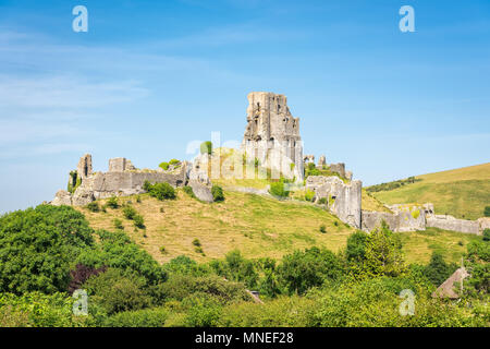Wareham, United Kingdom - June 20, 2017: Ruins of Corfe Castle, built in medieval times by William the  Conqueror in the Isle of Purbeck in Dorset, vi - Stock Photo