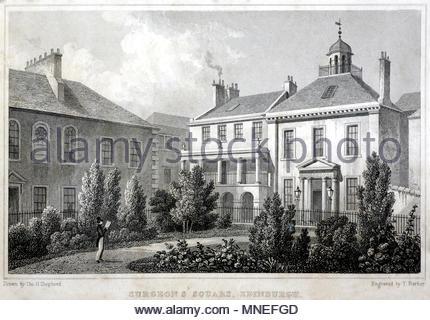 Surgeon's Square, Edinburgh, antique engraving from 1829 - Stock Photo