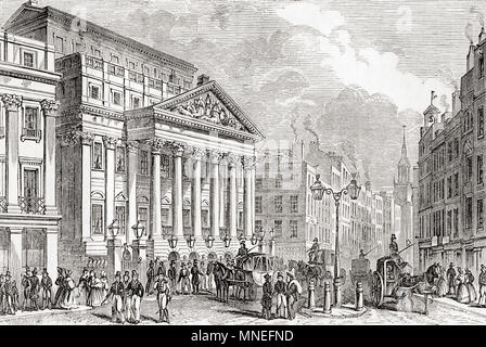 Mansion House, London, England, seen here in the early 19th century.  It is the official residence of the Lord Mayor of London.  From Old England: A Pictorial Museum, published 1847. - Stock Photo