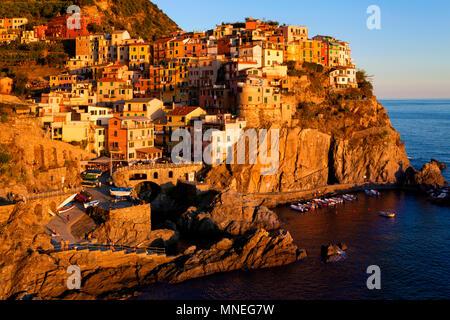 Manarola village, Cinque Terre, Liguria, Italy - Stock Photo