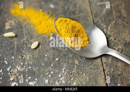 Turmeric powder on a spoon - Stock Photo