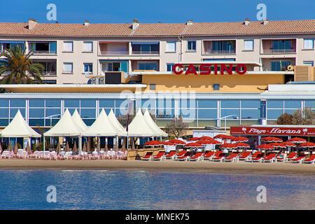 Casino at beach of Sainte-Maxime, Cote d'Azur, Département Var, Provence-Alpes-Côte d'Azur, South France, France, Europe - Stock Photo