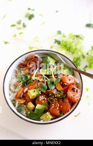 Ahi poke (raw tuna salad with avocado from Hawaii) - Stock Photo