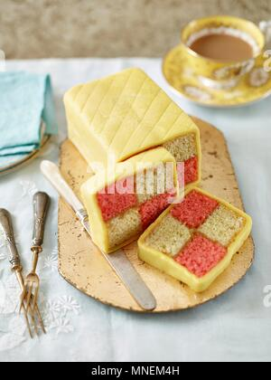 Classic Battenberg with slices - Stock Photo