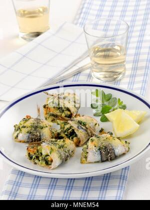 Rotolini di alici (sardine rolls, Italy) - Stock Photo