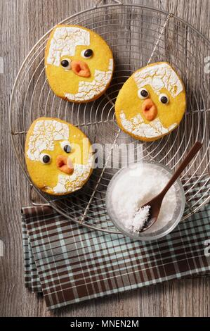Funny Easter chick biscuits - Stock Photo