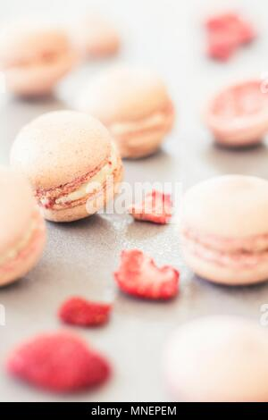 Dried strawberry macarons with white ganache - Stock Photo