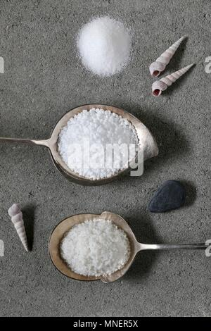 Various types of salt (seen from above) - Stock Photo