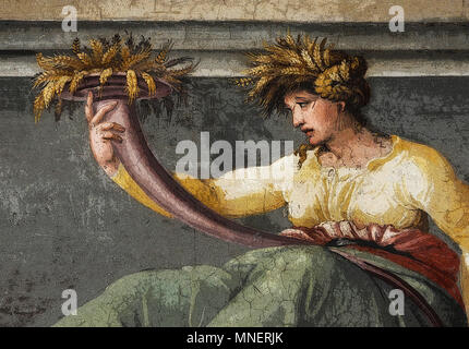 Figure of Ceres holding wheat, Renaissance mythological scene in the Frieze of the Hall of Perspectives (rendered in PS), by  Peruzzi, Rome, Italy - Stock Photo