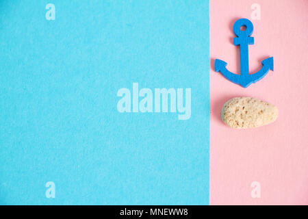 Decorative minimalistic card in pink and neon fashionable tones with the concept of the sea and rest - Stock Photo
