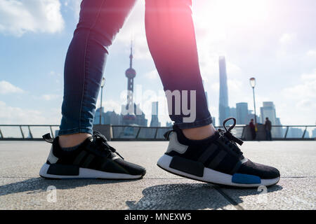 walking in the summer at bund Shanghai city view background - Stock Photo