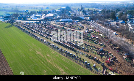 Aerial View of Amish Mud Sale in Pennsylvania, USA as Seen by a Drone - Stock Photo