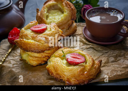 Packs puff pastry of cheese, home-European. Home making buns for tea. - Stock Photo