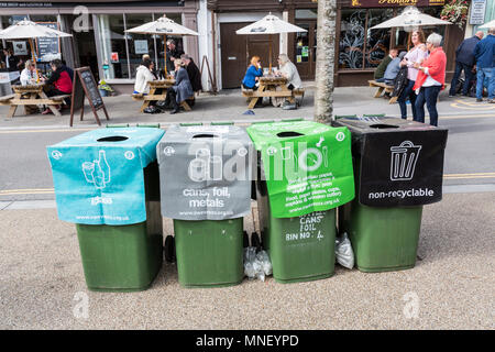 Recycling and litter bins in street at food festival, Abergavenny, Wales, UK - Stock Photo