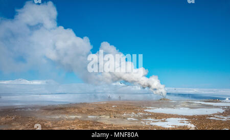 Rising steam from a fumarole, geothermal area Hverarönd, also Hverir or Namaskard, North Iceland, Iceland - Stock Photo