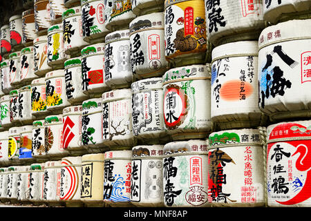 Sake barrels at Meiji-Jingu Shrine, Tokyo, Japan - Stock Photo