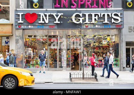I Love New York Gifts gift shop, Fifth Avenue, New York city, USA - Stock Photo