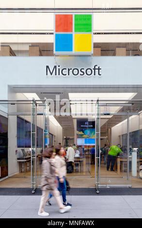 The Microsoft Store exterior, 5th Avenue, New York city USA - Stock Photo