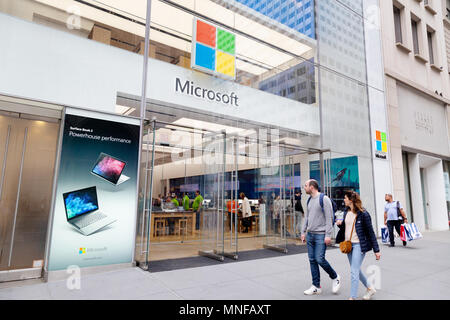 The Microsoft Store exterior, 5th Avenue, New York city USA - Stock Photo