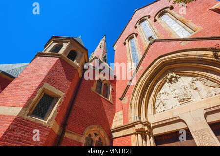 Boston, Massachusetts, USA - September 12, 2016:Looking up at the brick facade of Advent Church. - Stock Photo