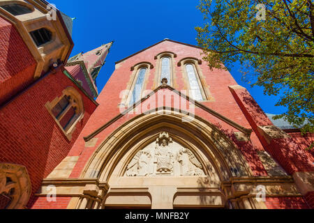 Boston, Massachusetts, USA - September 12, 2016: Looking up at the brick facade of Advent Church - Stock Photo