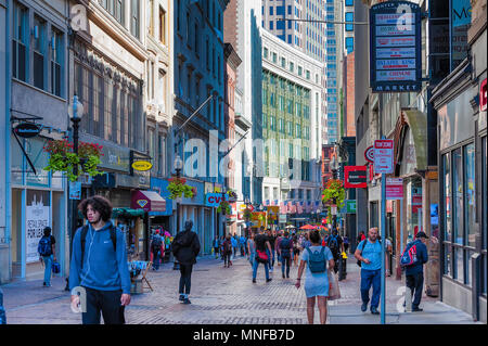 Boston, Massachusetts, USA - September 12, 2016:  Downtown Boston a busy city with tourist and locals alike. - Stock Photo