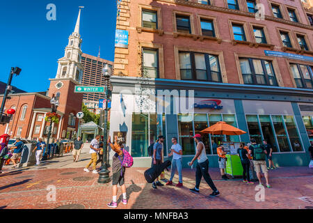 Boston, Massachusetts, USA - September 12, 2016:  Downtown Boston a busy city with tourtist and locals alike. - Stock Photo