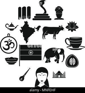 India travel icons set, simple style - Stock Photo
