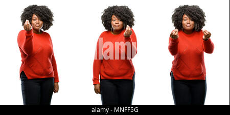 Young beautiful african plus size model angry gesturing typical italian gesture with hand, looking to camera isolated over white background. Collectio - Stock Photo