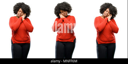 Young beautiful african plus size model tired and bored, tired because of a long day overworking isolated over white background. Collection compositio - Stock Photo