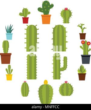 Different cactuses icons set in flat style - Stock Photo